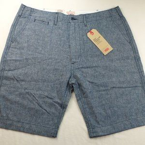 Levis 502 Mens Chino Shorts 33 36 Blue Linen Cotto